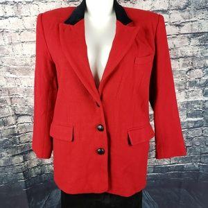 Chaus Red Wool Jacket/Black Velour Collar Size 12